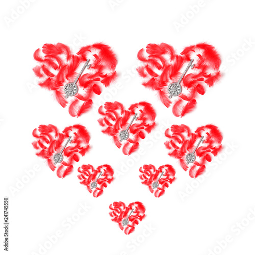 Fotografie, Obraz  beautiful pattern of hearts of various sizes on a white background