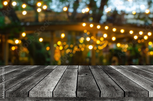Fényképezés empty wooden board, table or modern wooden terrace with abstract night light bok