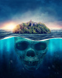 Fototapeta Bathroom - Scull island