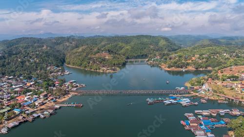 Recess Fitting Turkey Aerial view of Mon Bridge at Sangkhlaburi. Kanchanaburi. Thailand