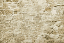 Old Beige Stone Wall Backgroun...