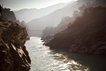 Devprayag, India: Looking Up Canyon Of The Alaknanda River.