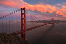 Sunset Over The Golden Gate Br...