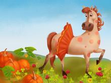 Cute Horse Stands In The Garde...
