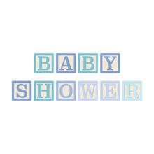 Baby Shower Alphabet Blocks - Blue Alphabet Blocks Spelling Baby Shower