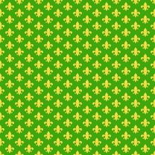 Fleur De Lis Seamless Pattern - Yellow Fleur De Lis Design On Green Background For Mardi Gras