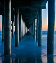 Huntington Beach Pier At Sunset In Huntington Beach CA.