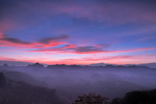 Sunrise At Ban Ja Bo, Mountain View Misty Morning Above Hill Tribes Village And Top Mountain Around With Sea Of Mist With Colorful Vivid Sky Background, Ban Jabo Village, Mae Hong Son, Thailand.
