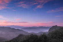 Sunrise At Ban Ja Bo, Mountain...