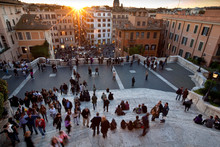 Rome, Italy: The Famous Piazza Di Espagna Or Steps Of Rome.