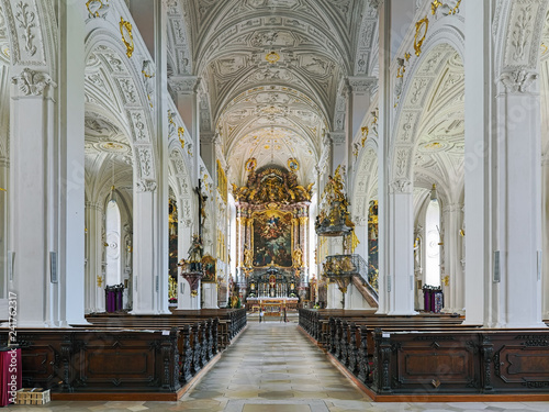 Fotografie, Obraz  Interior of Hofkirche (Court Church) in Neuburg an der Donau, Germany