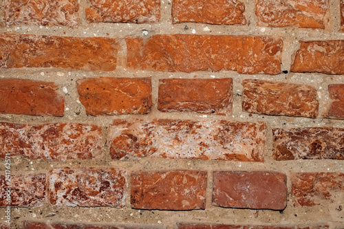 Foto Old Red brick wall close up, background for text