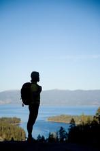 Young Woman Hiking Near Lake Tahoe, CA