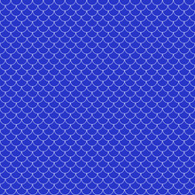 Fish Scales Seamless Pattern - Blue And White Fish Scales Or Scallops Design