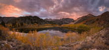 North Lake Sunset During The Peak Fall Color.  A Three Shot Panoramic.