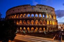 Rome, Italy: The Iconic Roman Colliseum At Dusk.