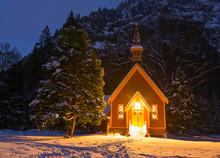 Small Church Illuminated At Night