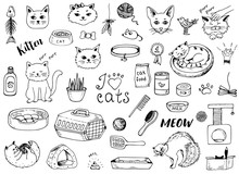 Cat Doodles On A White Background