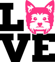Yorkie Love With Pink Silhouette