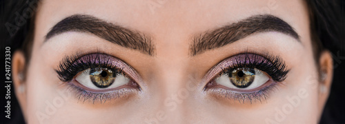 Perfect green eye with makeup. Living coral Fototapet
