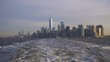 Manhattan Urban Skyline in the Morning. New York City. View From the Boat, Camera is Panning, United States of America