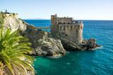 Medieval tower on the coast of Maiori town, Amalfi coast, Campania region, Italy