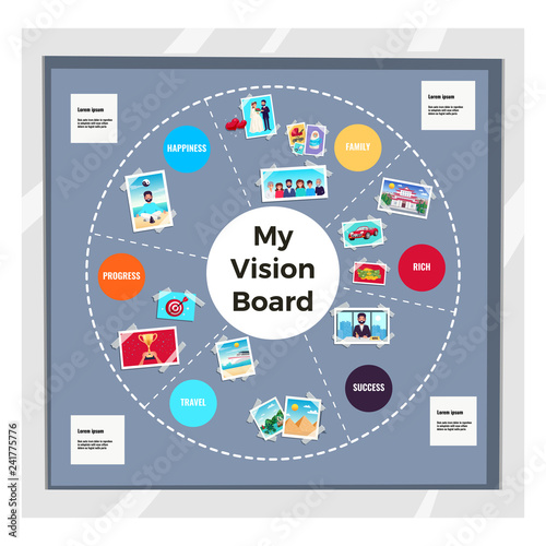 Fototapeta  Dreams Vision Board Infographic Set