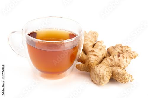 Fototapeta Cup of Ginger Root Tea on a White Background obraz