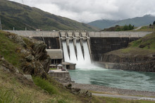 The Clyde Hydroelectric Power Dam Spilling Large Amounts Of Excess Water. Clyde, Otago, New Zealand.