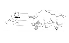 Cartoon Stick Drawing Conceptual Illustration Of Businessman Running Away From Angry Bull As Rising Market Prices Symbol.