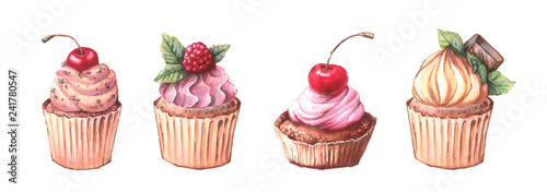 Photo  Watercolor cupcakes set with different type of cupcakes: strawberry, blueberry, chocolate