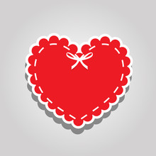 Red Paper Cut Heart Label With...