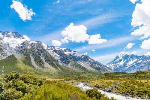 Fotobehang Alpen マウントクック国立公園のフッカーバレートラック