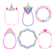 Collection Of Fairy Frames With Unicorn, Rainbow, And Crown For Little Princesses. Vector Design.