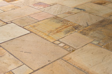 Lime Sandstone Slabs Laid Irregularly On The Terrace