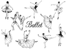 Big Set Of Hand Drawn Sketch Style Abstract Ballet Dancers Isolated On White Background. Vector Illustration.