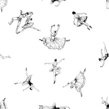 Seamless Pattern Of Hand Drawn Sketch Style Abstract Ballet Dancers Isolated On White Background. Vector Illustration.