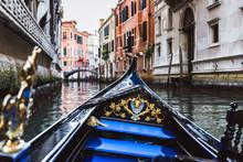 Traditional Gondola On Narrow ...
