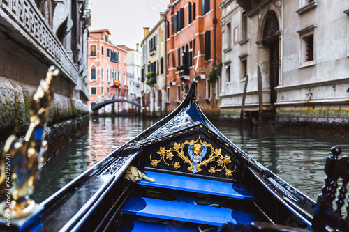 Tuinposter Gondolas Traditional gondola on narrow canal in Venice, Italy