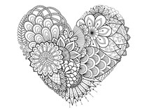 Hearted Shape FlowersFlowers,leafs In Hearted Shape For Print And Adult Coloring Book,coloring Page, Colouring Picture And Other Design Element.Vector Illustration