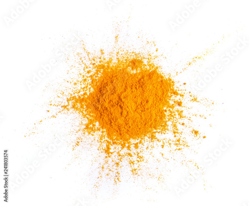 Recess Fitting Spices Turmeric (Curcuma) powder pile isolated on white background, top view
