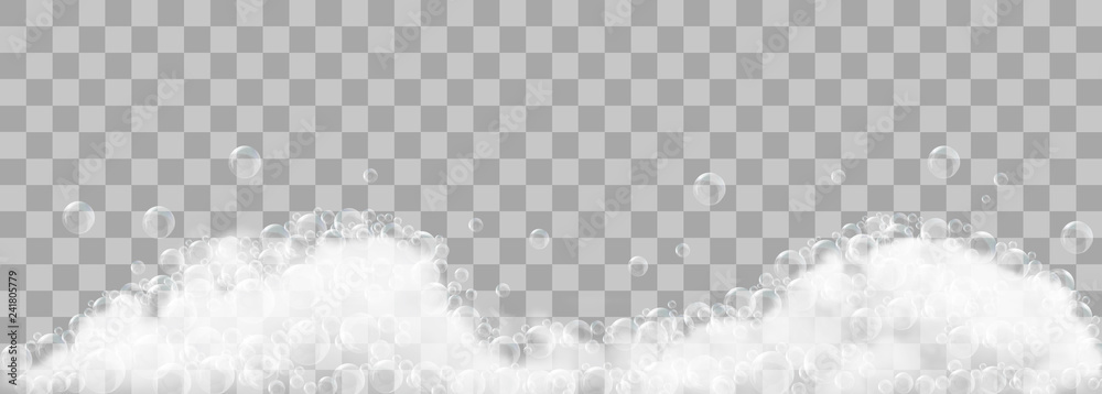 Fototapety, obrazy: Soap foam and bubbles on transparent background. Vector illustration