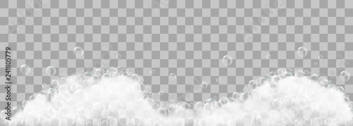 Soap foam and bubbles on transparent background Tablou Canvas