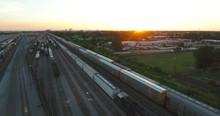 Aerial Flying Across Train Tracks Of New Orleans Rail Yard Gentilly