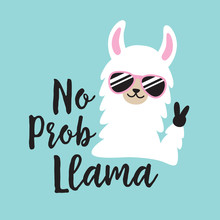 Funny White No Prob Llama Wearing Sunglasses.