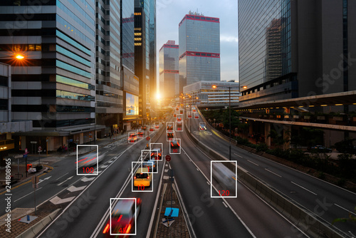 Fototapeta Machine Learning and AI to Identify Objects, Image recognition, Suspect Tracking, Speed Limit Radar obraz