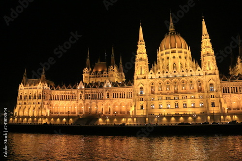 Fotografie, Obraz  Hungarian parliament in Budapest by night