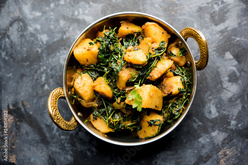 Fényképezés  Fenugreek potato sabzi or Aloo Methi masala is healthy Indian Cuisine