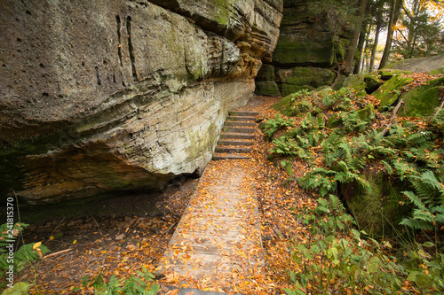 Vászonkép Stairs near a bat cave in Cuyahoga Valley National Park.