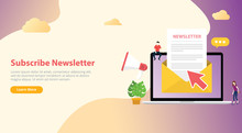 Subscribe Newsletter Concept With Team Working Together With Open Envelope